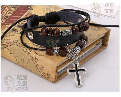 雙十字架牛皮手環多層 手工編織龐克嬉皮波希米亞風格  售價十一奉獻公益團體