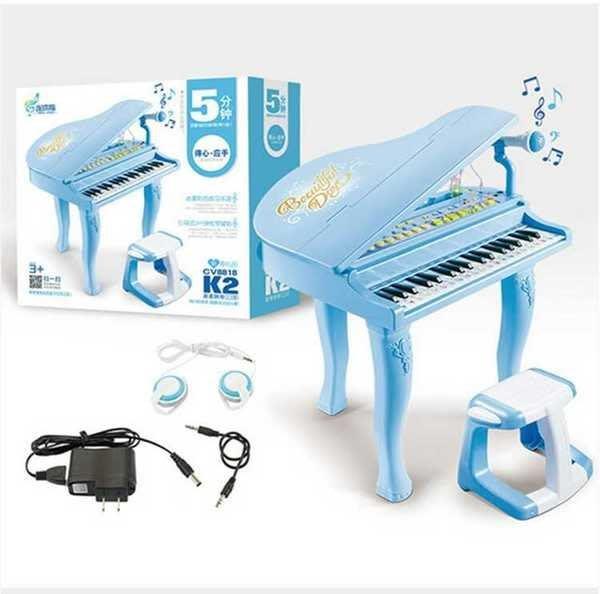 連環指K2兒童仿真電子鋼琴~~仿真鋼琴~附琴椅+麥克風+耳機+彩色練習樂譜+琴鍵貼紙◎童心玩具1館◎