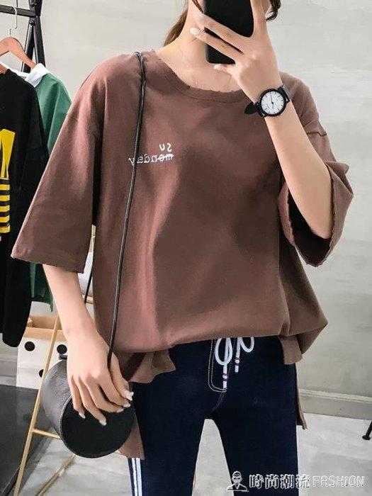 中長款半袖T恤女韓版寬鬆學生棉麻上衣加大碼200斤胖mm短袖打底衫