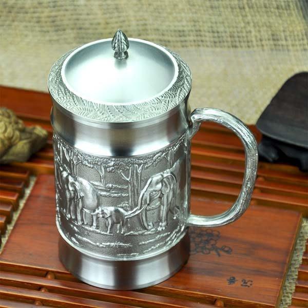 5Cgo【茗道】含稅會員有優惠  14495924144 高檔精致泰國工藝手工純錫吉象蓋杯錫茶杯錫辦公杯錫杯饋贈佳品