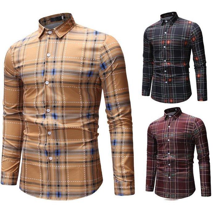 『潮范』  N3 新款外貿速賣通Ebay休閒格子拼接襯衫 大碼襯衫 男士格紋襯衫 長袖襯衫NRG257