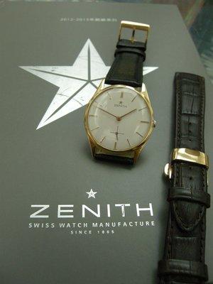 Zenith 先力時典藏18K玫瑰金/ 大錶徑小三針手上鍊收藏錶 很美