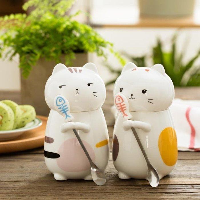 免運 可開發票 超萌立體ins動物貓咪可愛陶瓷水杯子情侶創意大容量帶蓋馬克杯 【聚時代】