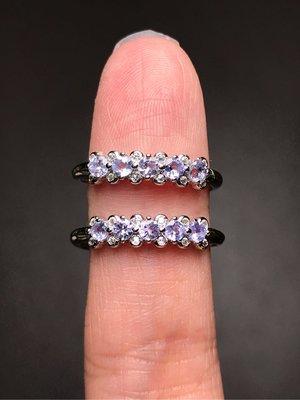 天然丹泉石戒指 寶石切割面坦桑石925銀線戒排戒 飾品配件《舒唯水晶》