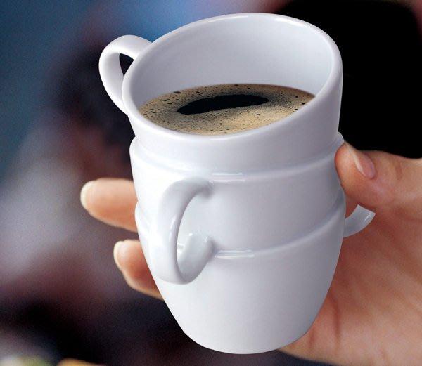最後出清! 疊疊馬克杯 (白色),創意造型馬克杯咖啡杯,生日派對禮物