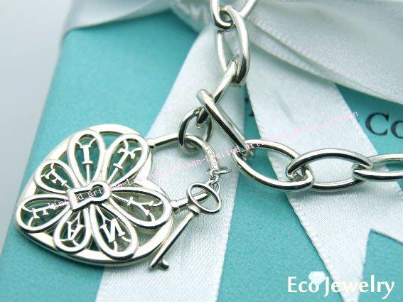 《Eco-jewelry》【Tiffany&Co】 新款簍空心鎖鑰匙純銀925粗圈手鍊~專櫃真品 已送洗