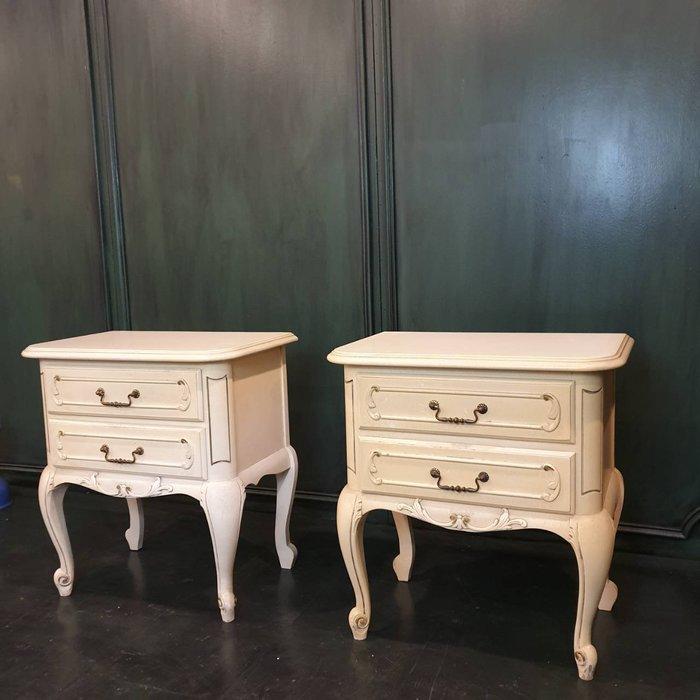 【卡卡頌  歐洲古董】法國老件 刷白  裂紋漆 刷色 小可愛 斗櫃 床頭櫃  邊櫃 收納櫃 ca0278