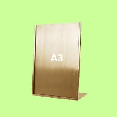 5Cgo【含稅】L型廣告牌黑桌牌不鏽鋼拉絲金A3價格牌專櫃台牌海報架子POP展示架含亞克力板16209415507