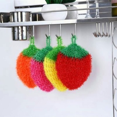 韓國熱銷加厚吸水抹布草莓洗碗巾 創意不沾油顏色隨機 菜瓜布清潔布廚房洗碗毛巾擦桌布洗碗布