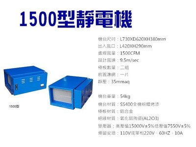 【GO GO GO 餐飲設備】1500型靜電機/油煙處理機