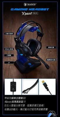PQS 台南 SADES 賽德斯 Xpower 極限之力 Plus 耳機麥克風 (USB)