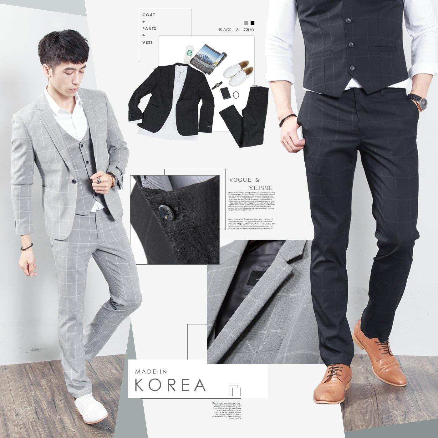 。SW。【K31168】免運 正韓MR 韓國製 修身顯瘦 質感 彈性西裝布 窄版 雅痞紳士 格子 成套西裝  英倫 GD