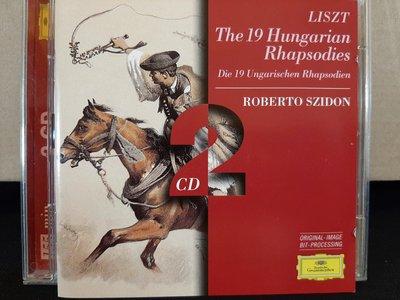 Szidon,Liszt-The 19 Hungarian Rhapsodies etc,濟東,李斯特-匈牙利狂想曲19首,西班牙狂想曲,2CD,如新。
