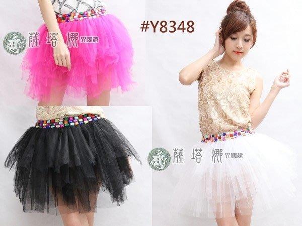 @~薩瓦拉 : 售出不退換_多色_Y8348_彩色寶石腰超澎多層次網紗裙(安全褲內裡)