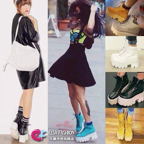 短靴長靴 厚底鬆榚短靴綁帶高跟馬丁朋克女靴36~39 艾爾莎【TSB8571】