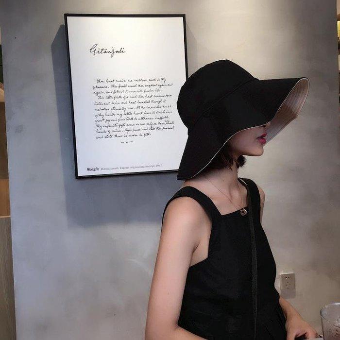 韓版雙面夏漁夫帽女遮臉大沿帽出游盆帽男休閒百搭遮陽防曬太陽帽