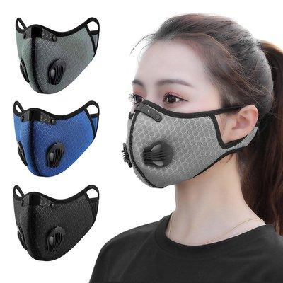 智慧購物王》透氣網雙氣閥可換活性碳濾芯防塵霾機車運動口罩 -三色可選