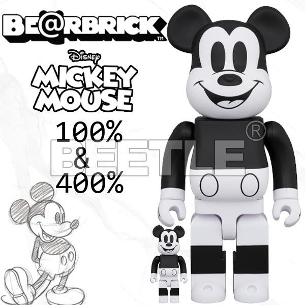 BEETLE BE@RBRICK DISNEY MICKEY 迪士尼 黑白 米老鼠 米奇 B&W 400 100%