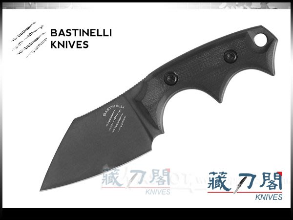 《藏刀閣》Bastinelli-(BB DRAGO CUTTER V2)黑G10柄黑刃小頸刀