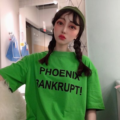韓國半袖體恤ulzzang原宿寬松BF字母印花圓領短袖T恤上衣女學生潮