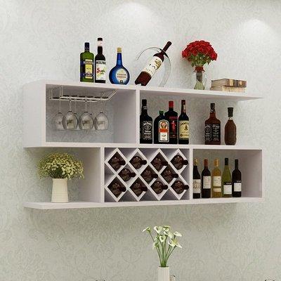 牆上酒櫃 壁掛式創意簡約紅酒架 客廳實木格子 牆壁裝飾置物架