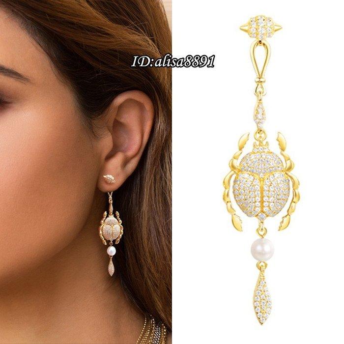 APM Monaco耳環 純銀單隻個性復古珍珠聖甲蟲耳釘 歐美風女生長款耳環 黃金色耳墜 精品飾品