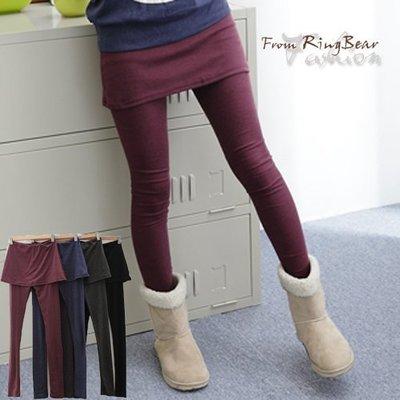 假兩件內搭褲--創造多重層次感-素面鬆緊帶假兩件內搭褲裙(黑.灰.藍.紅M-XL)-P31眼圈熊中大尺碼