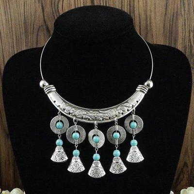 民族風 復古 頸圈誇張 影視拍攝 苗銀藏銀項圈 苗族舞蹈飾品項鏈 現貨