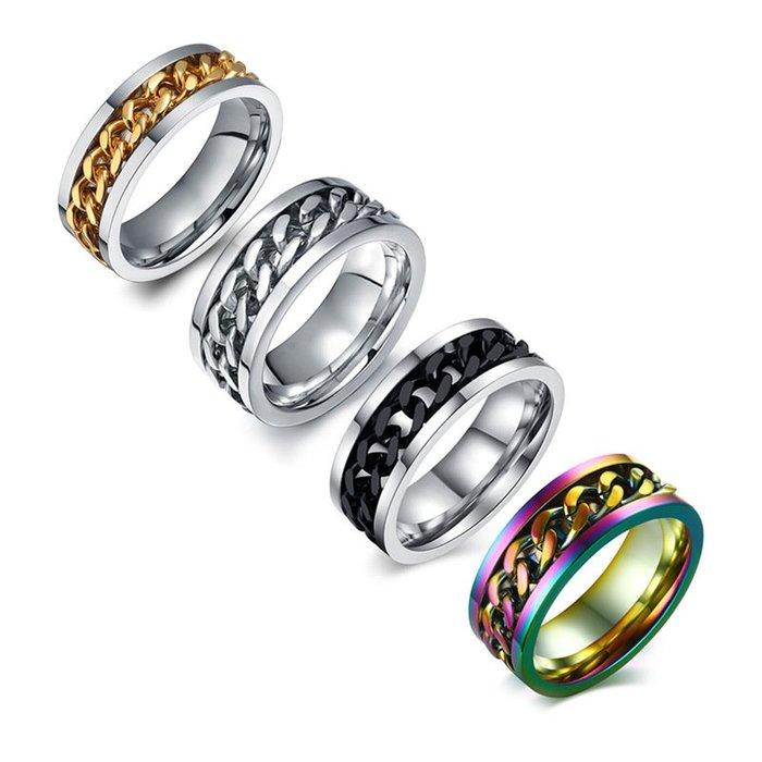 【潮客良品】~彩虹色 男士鈦鋼鏈條戒指 轉動戒指批發 男士戒指指環批R-016ccklp51985