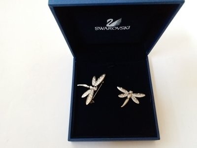 Swarovski Crystal Dragonfly Brooch & Tac Pin, mint in box with Name Tag