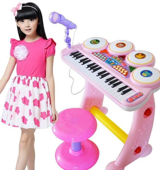 貝迪鷗兒童多功能琴鼓~卡拉OK伴唱電子琴~附琴椅+麥克風~可接MP3◎童心玩具1館◎