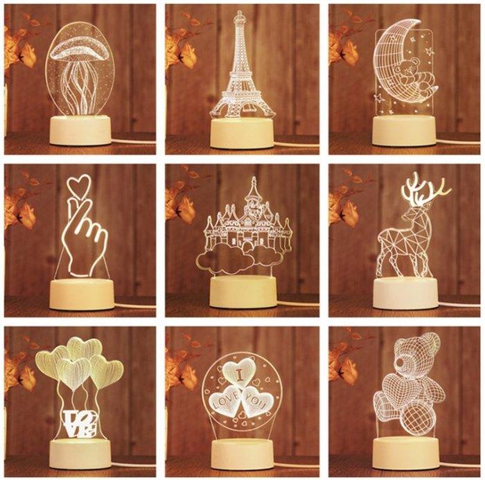 現貨夜市爆款創意禮品3D小夜燈led裝飾檯燈新奇特生日禮物夜燈