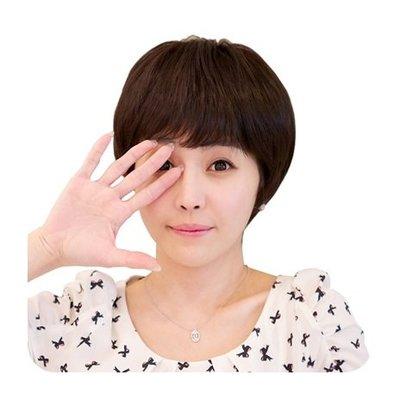 整頂 假髮 真髮絲-時尚自然齊瀏海短直髮女假髮2色73vc13[獨家進口][米蘭精品]