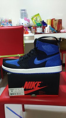 AIR JORDAN 1 RETRO HI FLYKNIT 黑藍 9.5 919704-005 Royal