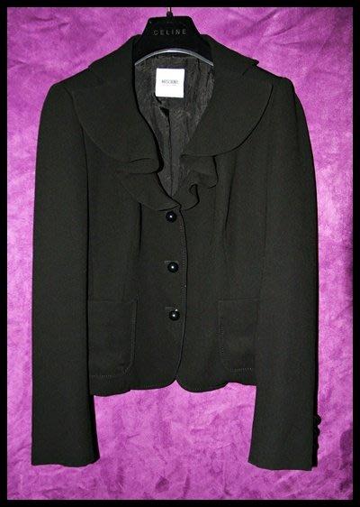 專櫃真品【Moschino】浪漫荷葉滾邊領黑色圓扣外套