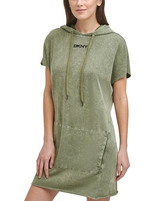 DKNY Sport Women's Raw-Hem Hoodie Dress