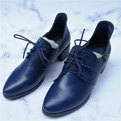 女鞋18春秋款百搭尖頭系帶真皮粗跟中跟踝靴