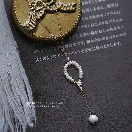 FJ52-法式手工輕珠寶-有鹿來。淡水珍珠小花環+棉花珍珠項鍊
