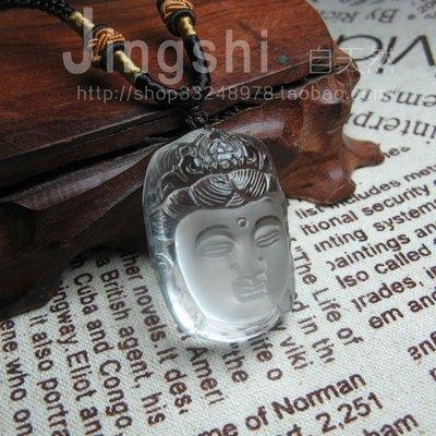 【月壺】新款磨砂精雕天然玻璃體白水晶釋迦牟尼吊墜掛件男女款佛墜