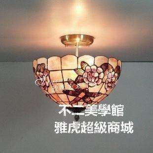 【格倫雅】^12寸玫瑰蜻蜓天然貝殼吸頂燈歐式田園風格賓館酒店咖啡廳吧臺48686[g-l-y