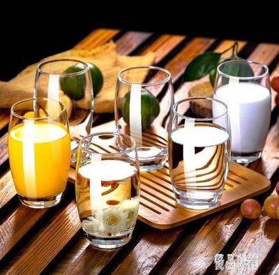 家用玻璃杯子套裝加厚簡約茶杯客廳喝水杯耐熱創意彩色6只 XY5427
