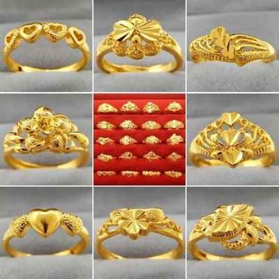 爆款 超低價格 越南沙金戒指女款不掉色鍍金色開口潮人假黃金24K學生滿天星首飾--記憶中的多啦