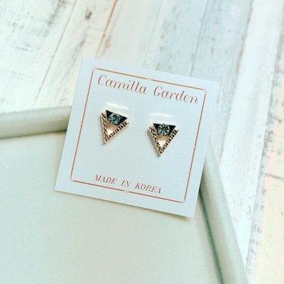 韓國 簡約 波點 三角形 貼耳式 925純銀耳針耳環 ~T636~ 可改矽膠耳夾 夾式耳環