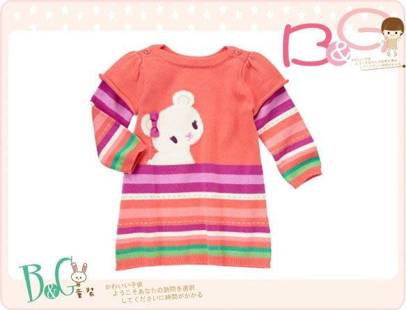 【B& G童裝】正品美國進口GYMBOREE 小熊圖樣彩色條紋長袖洋裝6-12mos