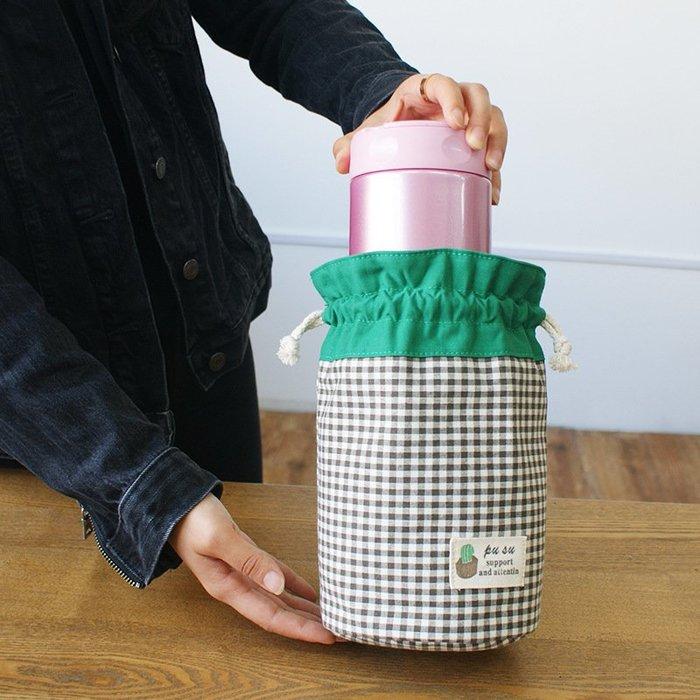 收納世家 布藝軟收納新品文藝清新燜燒杯壺罐保護套保溫杯袋通用手提拎小包布藝收納袋