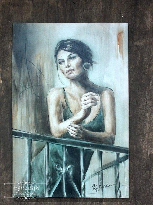 ~*~歐室精品傢飾館~*~鄉村風格 手工 繪製 工筆 油畫 時尚 摩登 女子 無框畫 掛畫 掛圖 壁飾 F款~新款上市~