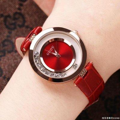 哆啦本鋪 古歐金色女士手錶女錶鑲鑚真皮錶帶石英時裝防水潮錶 D655