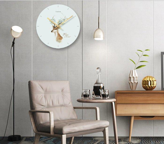 北歐風 創意靜音掛鐘 麋鹿 植物 羽毛 鳳梨 火烈鳥 花束時鐘 強化玻璃 牆面裝飾  |悠飾生活|