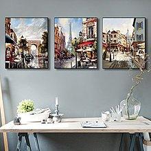 美式咖啡廳酒吧裝飾畫歐洲名建築室內飯店裝飾畫客廳掛畫走廊壁畫(五款可選)