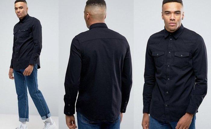 ◎美國代買◎ASOS雙有蓋口袋裝飾經典百搭帥氣黑色合身純棉牛仔襯衫~歐美街風~大尺碼
